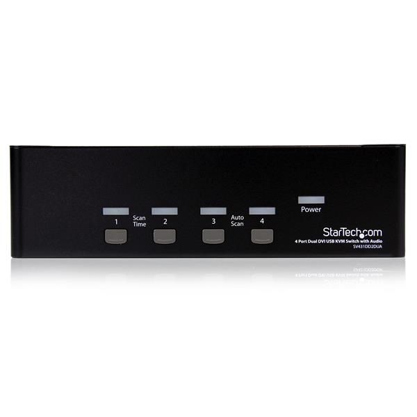 StarTech.com 4 Port DVI USB KVM Switch with Dual DVI Console and Quad View 4-in-1 Display KVM Switch with Quad Screen Splitter