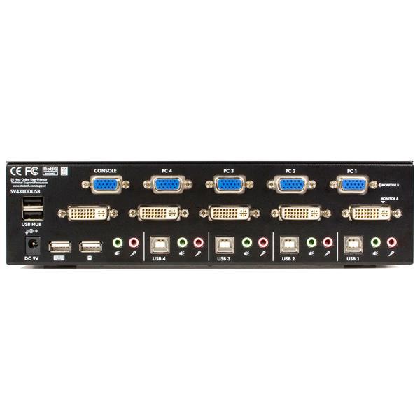 Dual Monitor KVM Switch 4 port DVIVGA USB KVM StarTechcom