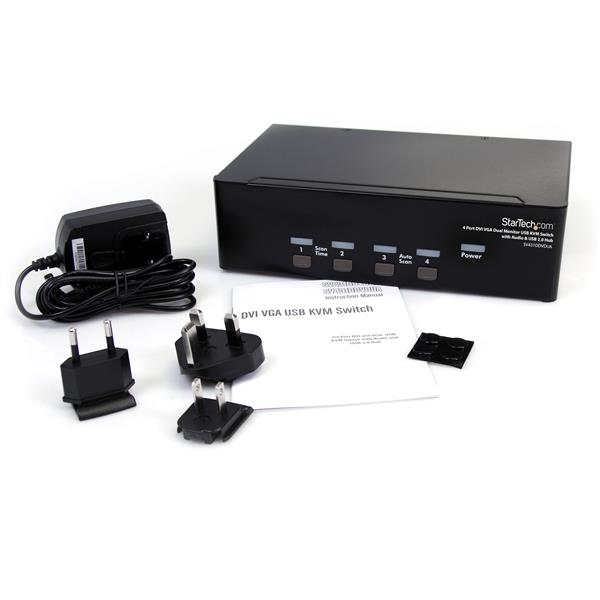 4 Port DVI VGA Dual Monitor KVM Switch USB with Audio & USB 2 0 Hub