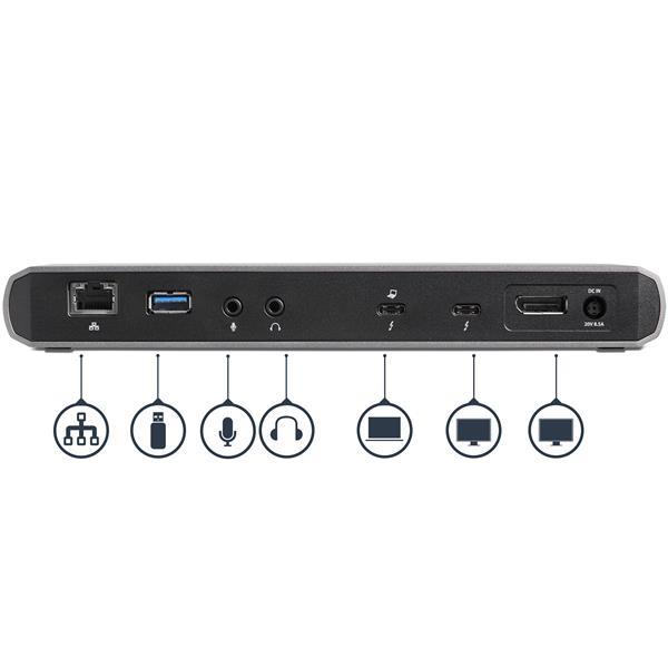 Dual 4K Monitor Thunderbolt 3 Dock with 3x USB 3 0 Ports