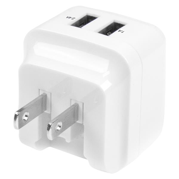 Dual Port USB Wall Charger International Travel 17W3.4A White