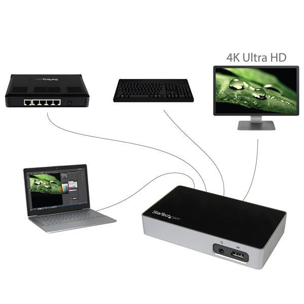 4K DisplayPort Docking Station for Laptops - USB 3 0
