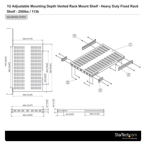 1u Adjustable Depth Vented Rack Mount Shelf Server Rack