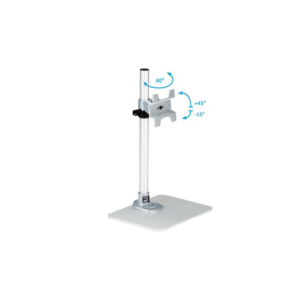 Adjustable Stand Up Desk >> Single Monitor Stand - Adjustable - Steel - Silver ...