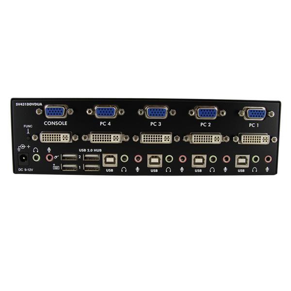 Dvi Vga Dual Monitor Usb Kvm Switch 4 Port Kvm Switch