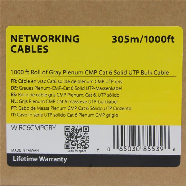 1000 Ft Gray Cmp Cat 6 Cable Bulk Lan Cable Startech Com