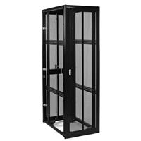 42U 36in Black Server Rack Cabinet W/ Mesh Door   No Side Panels