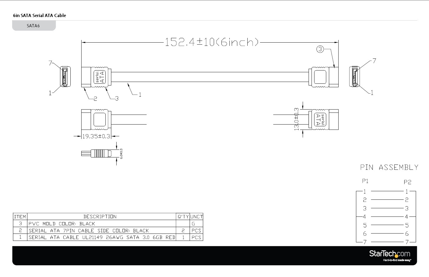 sata cable serial ata cable 6in startech com sata cable diagram sata wire diagram #43