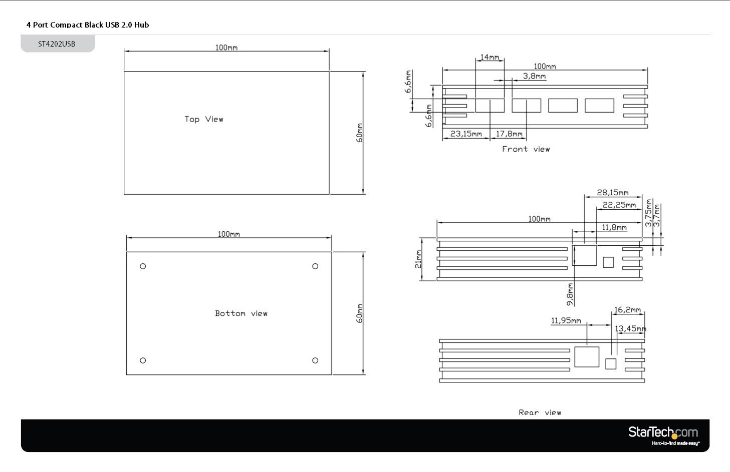 4 Port Compact Black Usb 20 Hub Usb2 Hubs Canada Sqauare Wiring Diagram Diagrams